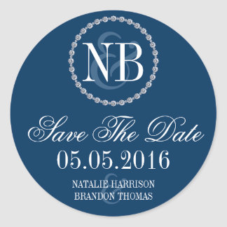 Navy blue rhinestone Save The Date wedding sticker