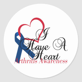 Navy Blue Ribbon Have A Heart Arthritis Awareness Classic Round Sticker