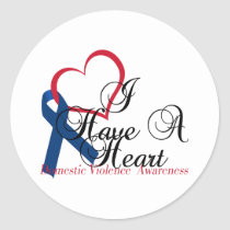 Navy Blue Ribbon Have A Heart Domestic Violence Classic Round Sticker