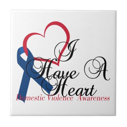 Navy Blue Ribbon Have A Heart Domestic Violence Ceramic Tile
