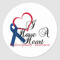 Navy Blue Ribbon Hydrocephalus Awareness Classic Round Sticker