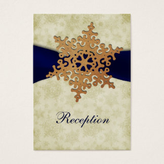 Navy Blue ribbon, rustic snowflake Business Card
