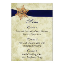 Navy Blue ribbon, rustic snowflake Card