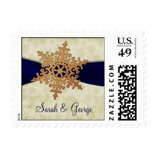 Navy Blue ribbon, rustic snowflake Postage Stamp