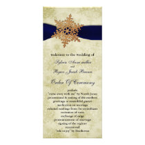 Navy Blue ribbon, rustic snowflake Rack Card