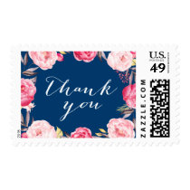 Navy Blue Romantic Floral Wreath Thank You Postage