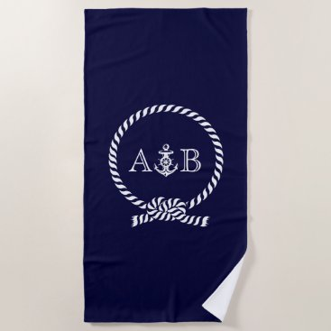 Beach Themed Navy Blue Rope and Anchor Monogrammed Beach Towel