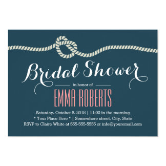 Navy Blue Rope Knot Nautical Bridal Shower Card