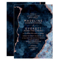 Navy Blue & Rose Gold Agate Wedding Invitations
