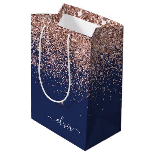 Navy Blue Rose Gold Blush Pink Glitter Monogram Medium Gift Bag