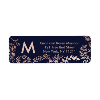 Navy Blue Rose Gold Floral Address Labels
