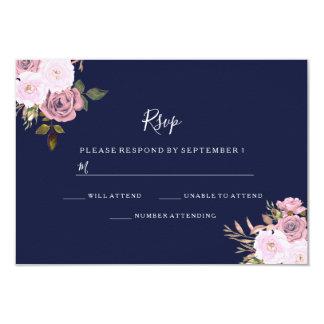 Navy Blue & Rose Gold Floral Wedding RSVP Card