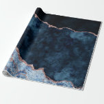 """Navy Blue & Rose Gold Foil Agate Marble Wrapping Paper<br><div class=""""desc"""">Navy Blue & Rose Gold Foil Watercolor Marble Agate Gilded Geode Design,  with Modern and Script fonts. Trendy and Chic Wedding Or Party Gift Wrap Paper! ~ Check my shop to see the entire wedding suite for this design!</div>"""