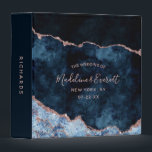 """Navy Blue Rose Gold Foil Agate Wedding Photo Album 3 Ring Binder<br><div class=""""desc"""">Navy Blue &amp; Rose Gold Foil Watercolor Marble Agate Gilded Geode Design,  with Modern and Script fonts. Trendy and Chic Wedding or any event Photo Album! ~ Check my shop to see the entire wedding suite for this design!</div>"""