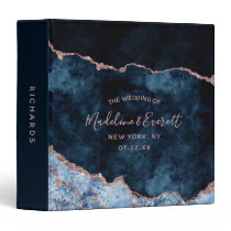 Navy Blue Rose Gold Foil Agate Wedding Photo Album 3 Ring Binder