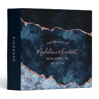 Navy Blue Rose Gold Foil Agate Wedding Photo Album 3 Ring Binder