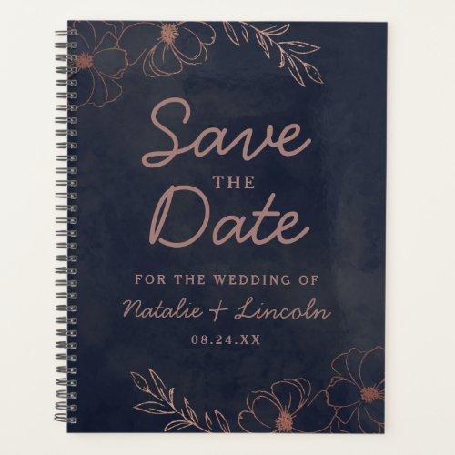 Navy Blue  Rose Gold Foil Save the Date Wedding Planner