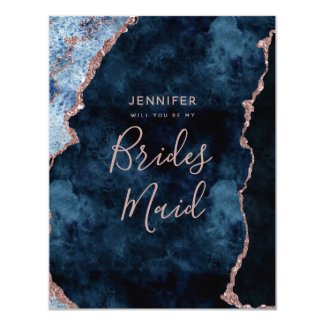 Navy Blue Rose Gold Foil Will You Be My Bridesmaid Invitation
