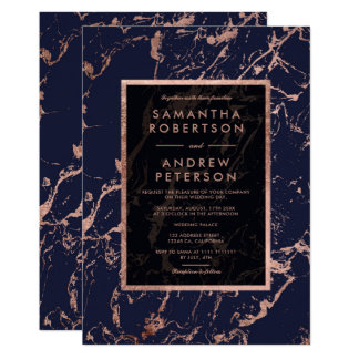 Navy blue rose gold frame marble wedding invitation