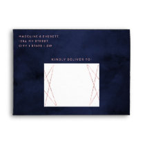 Navy Blue & Rose Gold Geometric Wedding Monogram Envelope