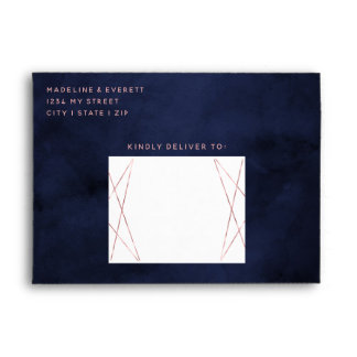 Navy Blue & Rose Gold Geometric Wedding Monogram Envelope