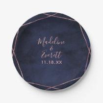 Navy Blue & Rose Gold Geometric Wedding Monogram Paper Plate