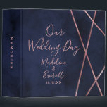 """Navy Blue Rose Gold Geometric Wedding Photo Album 3 Ring Binder<br><div class=""""desc"""">Navy Blue &amp; Rose Gold Geometric Design with trendy hand lettered fonts Elegant Simple and Modern Wedding Photo Album With trendy Hand Lettered Script font! ~ Check my shop to see the entire wedding collection with this design!</div>"""
