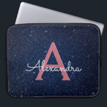 "Navy Blue & Rose Gold Glitter and Sparkle Monogram Laptop Sleeve<br><div class=""desc"">Navy Blue and Rose Gold Faux Glitter and Sparkle Elegant Monogram Case. This case can be customized to include your initial and first name with a midnight blue celestial night sky.</div>"