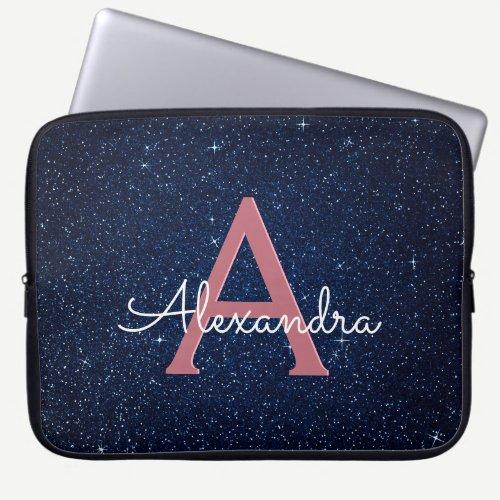 Navy Blue & Rose Gold Glitter and Sparkle Monogram Laptop Sleeve