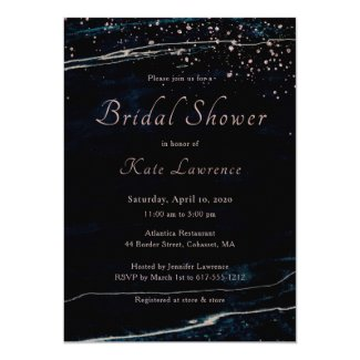 Navy Blue & Rose Gold Marble Artsy Bridal Shower Invitation