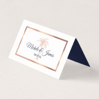 Navy Blue Rose Gold Palm Tree Modern Wedding Place Card