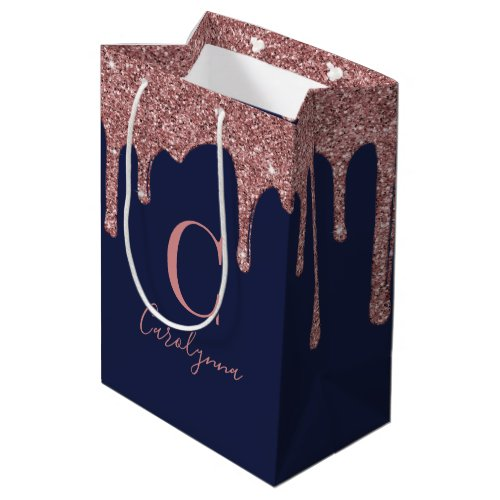 Navy Blue Rose Gold Sparkle Glitter Drips Monogram Medium Gift Bag