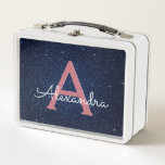 """Navy Blue &amp; Rose Gold Sparkle Glitter Monogram Metal Lunch Box<br><div class=""""desc"""">Navy Blue and Rose Gold Sparkle Glitter Monogram Elegant Lunch Box. The Lunch Box can be customized to include your initial and first name.</div>"""