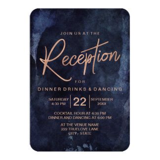 Navy Blue & Rose Gold Wedding Reception Card