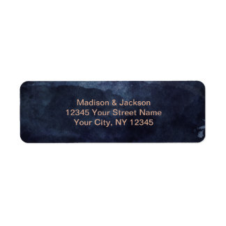 Navy Blue & Rose Gold Wedding Return Address Label