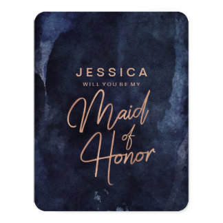 Navy Blue Rose Gold Will You Be My Maid of Honor Card