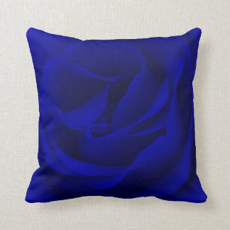Navy Blue Rose Magnified Throw Pillow