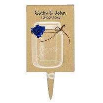 navy blue rose mason jar personalized cake picks