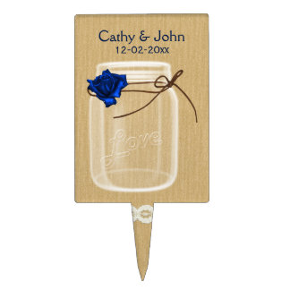 navy blue rose mason jar personalized cake picks