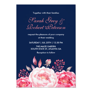Navy Blue Roses Stripes Floral Wedding Invitation