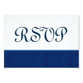 "Navy Blue RSVP Damask Wedding C108 3.5"" X 5"" Invitation Card"