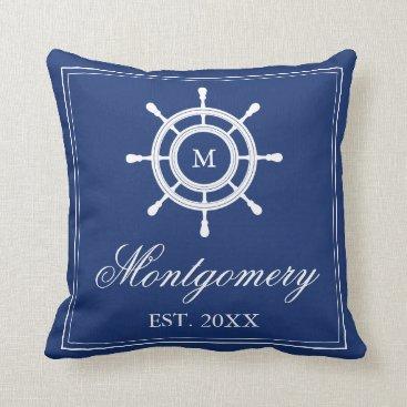 Beach Themed Navy Blue Rudder Monogram & Family Name Throw Pillow