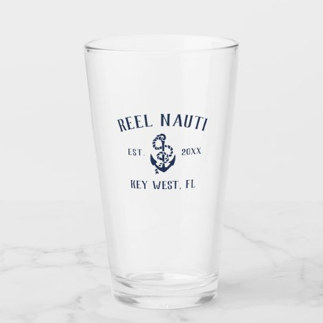 Navy Blue Rustic Anchor | Boat Name Glass