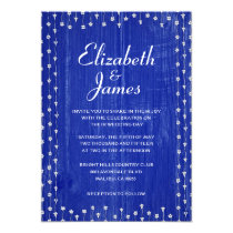Navy Blue Rustic Barn Wood Wedding Invitations