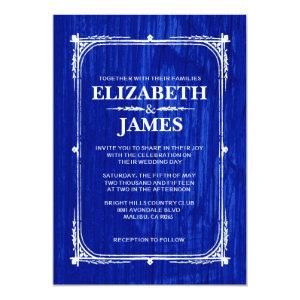 Navy Blue Rustic Barn Wood Wedding Invitations 5