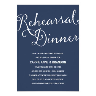 Navy Blue   Rustic Calligraphy Rehearsal Dinner Card