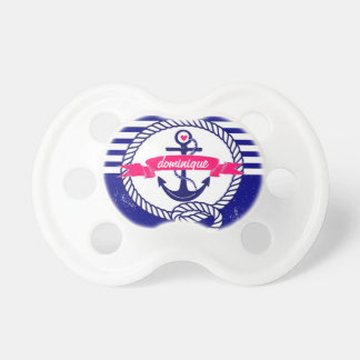 Navy Blue Rustic Nautical Stripes Baby Pacifier BooginHead Pacifier
