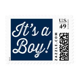 Navy Blue Rustic Script It's a Boy Baby Shower Postage