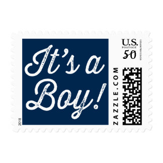 Navy Blue Rustic Script It's a Boy Baby Shower Postage