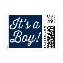 Navy Blue Rustic Script It's a Boy Baby Shower Postage Stamp